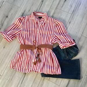 Who What Wear red & white striped button up shirt